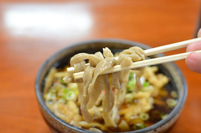 Buckwheat Noodles with Fried Octopus and Burdock -Izumi Shokudo in Hidaka-
