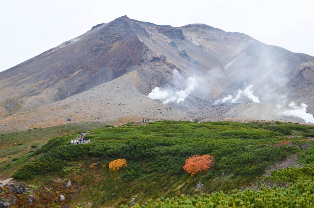 Mt. Asahidake with Fall Foliage in Higashikawa