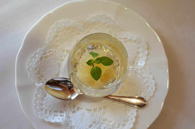 French Cuisine -Maccarina in Makkari- jelly of ginger and pears