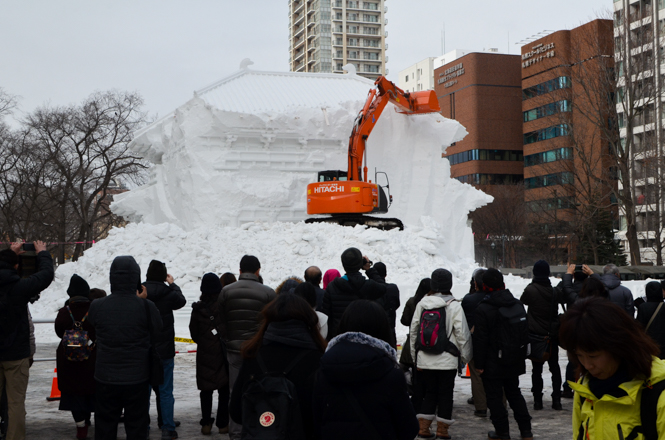 Odori Venue, Sapporo Snow Festival, Snow Sculptures Destroying Performance