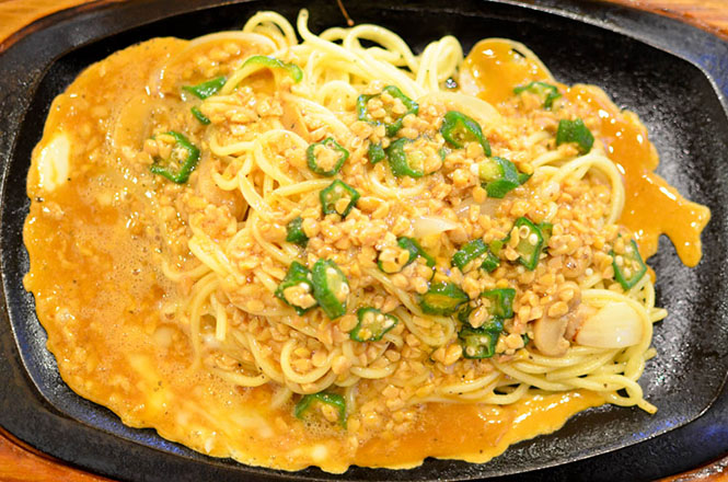 Tomakomai, Okra and Natto Spaghetti -Brake-