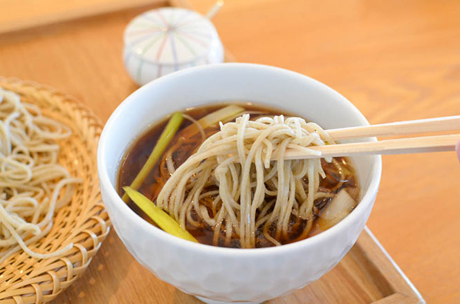 Buckwheat Noodle with Duck and Green Onions -Mansaku in Kamifurano-