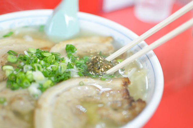 Seaweed Laver Ball Salt Broth Ramen with Roasted Pork Fillets -Nakama in Kutchan-