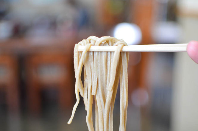 Buckwheat Noodles with Vegetables Produced in Sorachi -Karamatsuen in Naie-