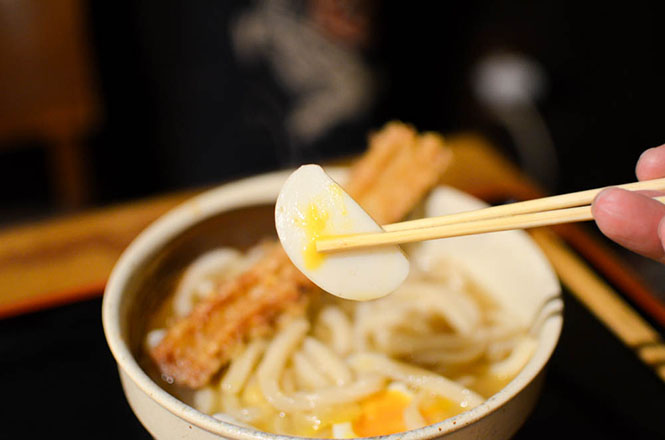 Udon with Deep Fried Chikuwa and Soft Boiled Egg -Nonosan in Kyogoku-