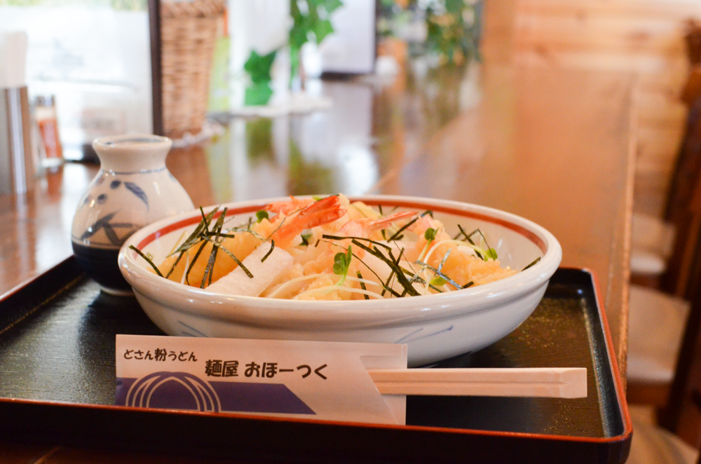 Udon Noodles Topped with Shrimp and Rice Cake -Menya Okhotsk in Yubetsu-