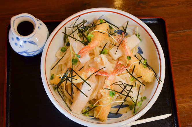 Udon Noodles Topped with Prawn and Rice Cake -Menya Okhotsk in Yubetsu-