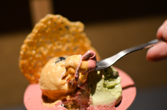 Parfait with Salt Caramel Ice Cream and Pistachio Ice Cream -Parfait, Coffee, Sake and Sato in Sapporo-