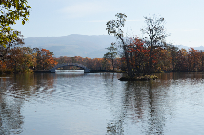 Lake Onuma with Fall Foliage in Nanae