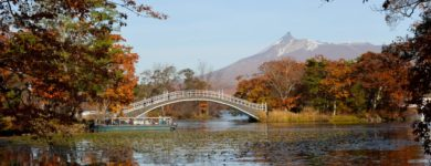 Lake Onuma with Fall Foliage